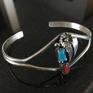 Silver with Turquoise and Red Jasper Cuff